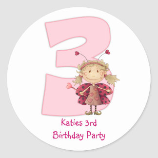 3rd birthday party customizable sticker - cute