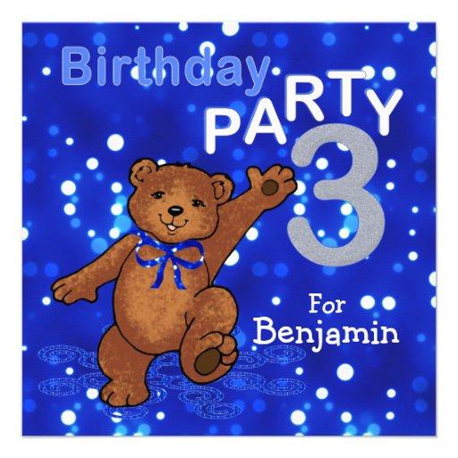 3rd Birthday Party Dancing Teddy Bear Announcements