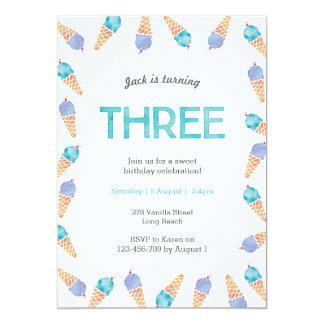 3rd Birthday Party | Ice cream invitation