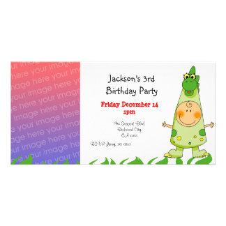 3rd birthday party invitations ( dragon costume ) photo card template