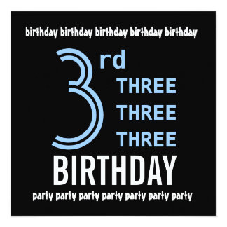 "3rd Birthday Party Modern Blue and Black G206 5.25"" Square Invitation Card"