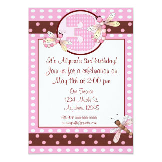 "3rd birthday party pink dot dragonfly girls invite 5"" x 7"" invitation card"