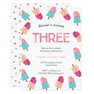3rd Birthday Party | Popsicle Ice cream invitation
