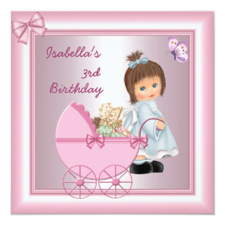 3rd Birthday Party Pretty Pink Girl Card