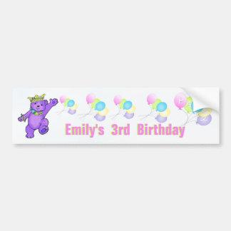 3rd Birthday Party Purple Princess Bear Car Bumper Sticker
