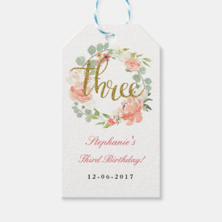 3rd Birthday Pink Gold Floral Wreath Tags Pack Of Gift Tags