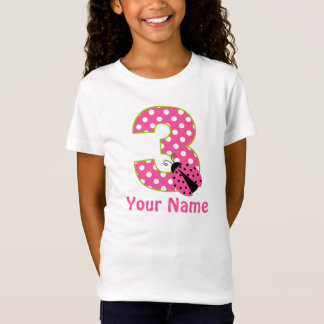 3rd Birthday Pink Green Ladybug Personalized Shirt