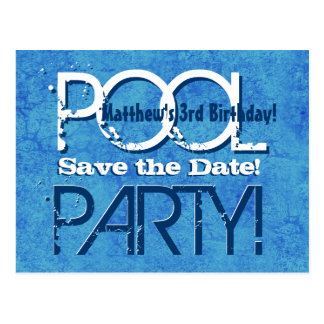 3rd Birthday Pool Party Save the Date V003 Postcard