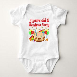 3RD BIRTHDAY RED RAINBOW CAKE DESIGN BABY BODYSUIT