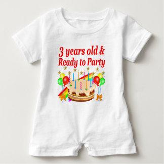 3RD BIRTHDAY RED RAINBOW CAKE DESIGN BABY ROMPER