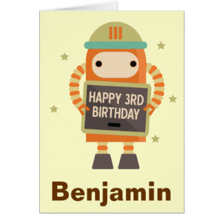 3rd Birthday Robot vintage personalized card