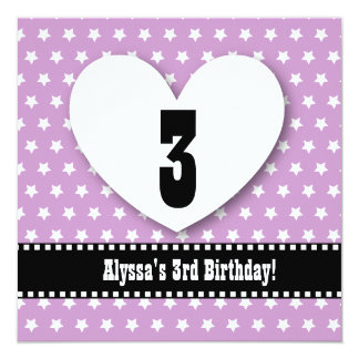"3rd Birthday THREE Year Old Girl Purple Stars V03A 5.25"" Square Invitation Card"