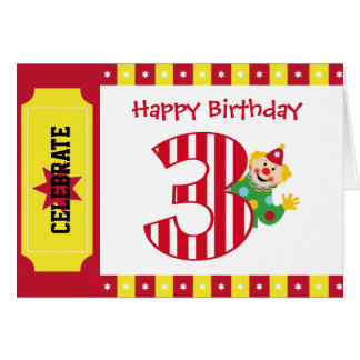 3rd Birthday Waving Circus Clown Card