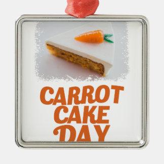 3rd February - Carrot Cake Day - Appreciation Day Silver-Colored Square Ornament
