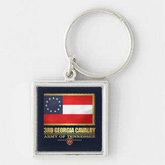 3rd Georgia Cavalry (F10) Silver-Colored Square Keychain