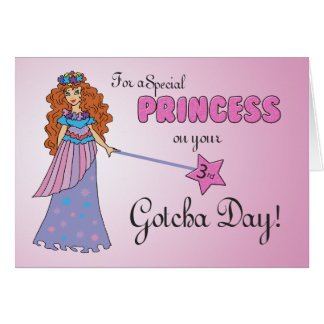 3rd Gotcha Day Pink Princess w/ Sparkly-Look Wand Card