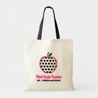 3rd Grade Teacher Bag - Polka Dot Apple