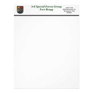 3rd special forces fort Bragg veterans flash Lette Letterhead
