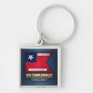 3rd Texas Cavalry Silver-Colored Square Keychain