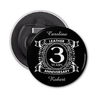 3rd wedding anniversary distressed crest bottle opener