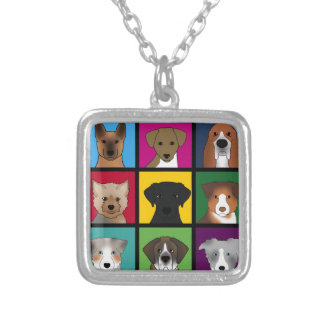 3x3 of dogs silver plated necklace