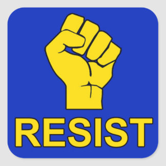 3x3 RESIST sticker with blue background