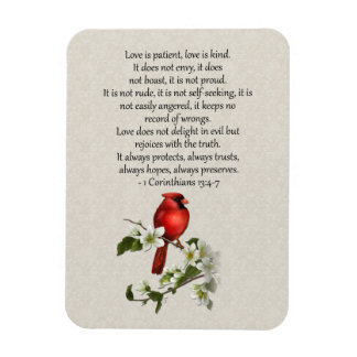 3x4 Red Bird Dogwood Love is Patient Love is Kind Magnet