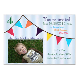 3x5 Boys Birthday Invitation Blue Striped Banner
