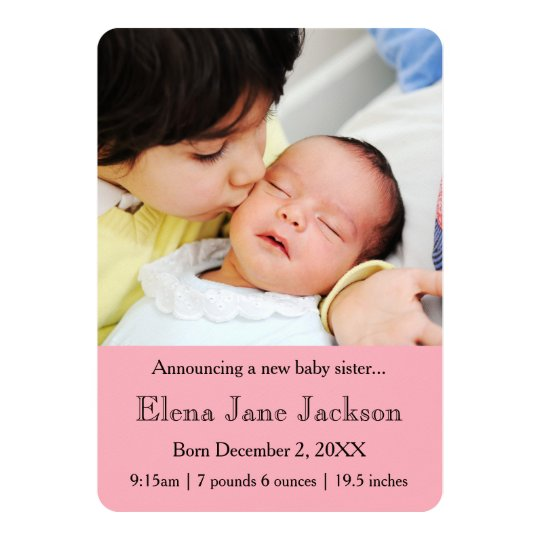 3x5 Brother Announcing Sister's Birth Pink Card