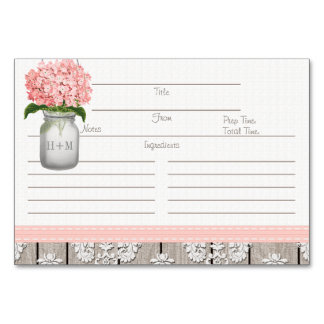 3x5 Pink Hydrangea Mason Jar Recipe Cards Table Card