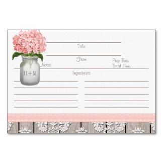 3x5 Pink Hydrangea Mason Jar Recipe Cards Table Card