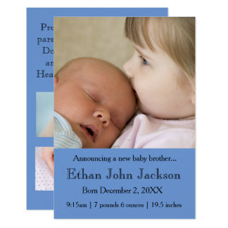 3x5 Sister Announcing Brother's Birth Blue Card