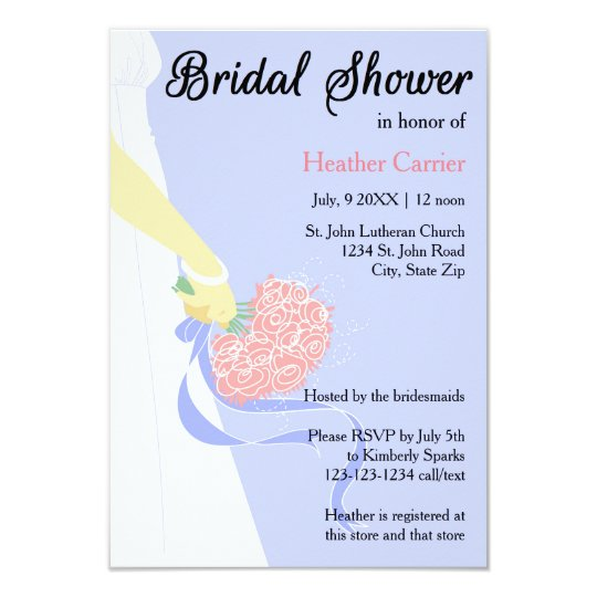 3x5 Vertical Dress & Bouquet -Bridal Shower Invite