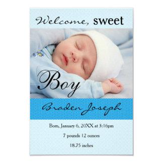 3x5Sweet Boy Newborn Baby Birth Announcement