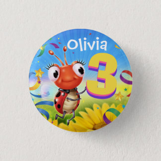 3yrs Custom birthday badge Little Ladybug range 1 Inch Round Button