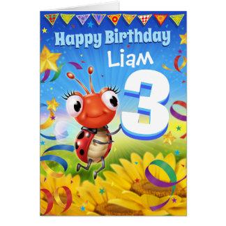3yrs Custom birthday card Little Ladybug range