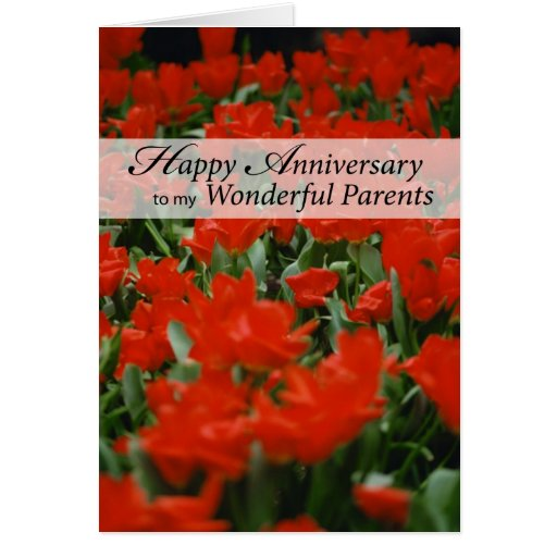 Parents happy anniversary red flowers greeting card