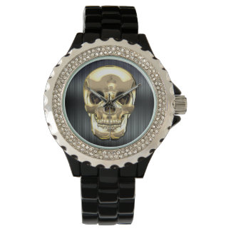 [400] Golden Human Skull Watch