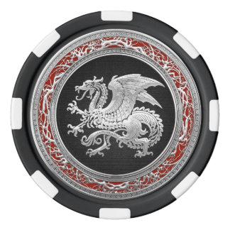 [400] Icelandic Dragon, Landvættir [Silver] Poker Chips