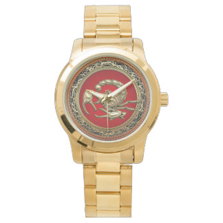 [400] Sacred Golden Scorpion on Red Watches