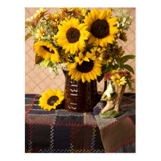 4038 Fall Sunflower Bouquet on Quilt Postcard