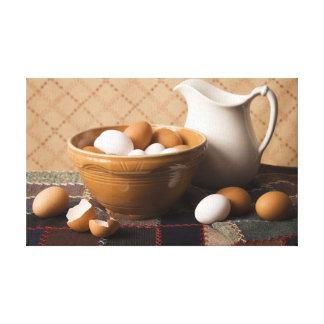 4061 Bowl of Eggs & Pitcher Still Life Canvas Print