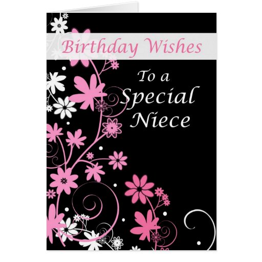 4084 Niece Birthday Wishes Pink And Black Greeting Card