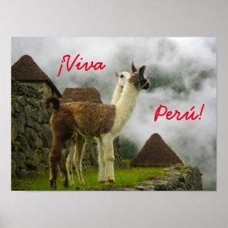 40.64cm x 30.48cm ¡Viva Perú! Kissing Lama Poster