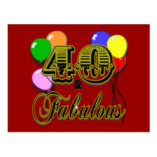 40 and Fabulous Birthday Gifts and Apparel Postcard