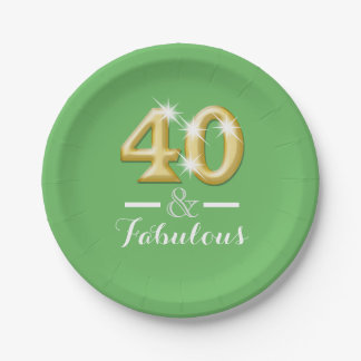 40 and fabulous birthday green paper plate