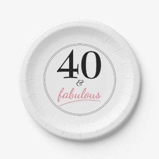 40 and Fabulous Birthday Party Paper Plate