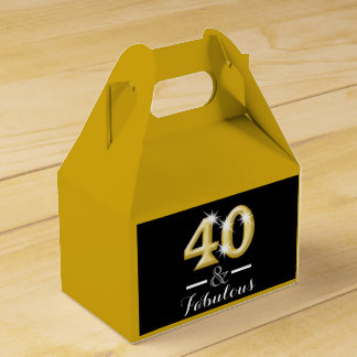 40 and fabulous black gold birthday wedding favor box