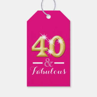 40 and fabulous pink gold birthday pack of gift tags