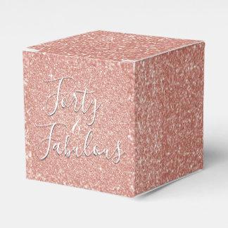 40 and Fabulous Rose Gold Blush Pink Glitter Favor Box